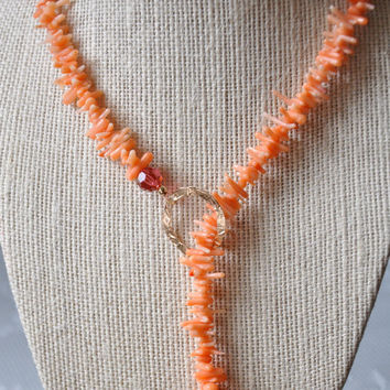 Orange Coral Pink Lariat, Gold Crystal Necklace, Summer Beach Jewelry