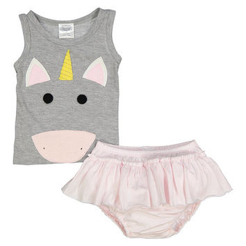 Silver Unicorn Organic Tank & Pink Bloomers - Infant