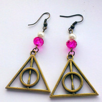 Harry Potter Deathly Hallows Antique Bronze Dangle Earrings- Harry Potter jewellery-Women's earrings- Christmas gifts-stocking fillers