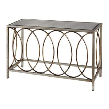 114-96 Rings Console Table With Mirrored Top - Free Shipping!