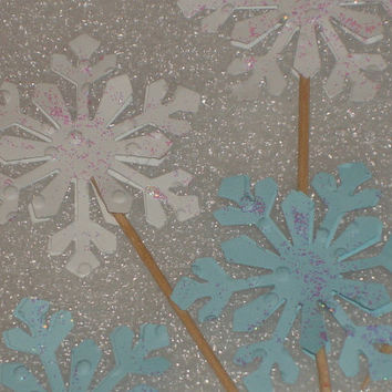 Snowflake Cupcake Topper Picks for Weddings, Birthdays, Baby Showers, Olaf Frozen Parties