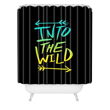 Leah Flores Into The Wild Teal And Gold Shower Curtain