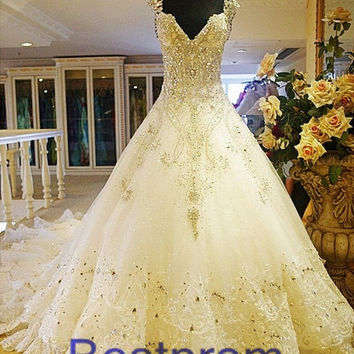 hot sale 2014 Luxury Expensive Full Swarovski Crystal Beaded Lace Cathedral Wedding gown ivory Wedding Dress