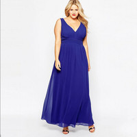 7XL New Women Dress Plus Size 6l Long Sexy Solid V Neck Chiffon Dress For Female Summer Long Maxi Dress Vestidos Ukraine