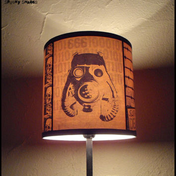 2012 A.D. orange lamp shade lampshade - lighting, steampunk, home decor, contemporary lighting, halloween, orange lamp shade, gas mask, dorm