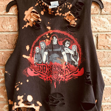 DeTHKLOCK Medium  bleached, distressed, cut , rock n roll, heavy metal, rock shirt, concert shirt, grunge