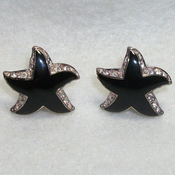 Signed Erwin Pearl Starfish Clip Earrings - Black Stars with Rhinestones - Black Starfish w/ Rhinestones - Rhinestone Star Clip On Earrings