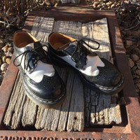 Vintage Dr Marten Black and White women's wingtip US size 7 shoe, made in England
