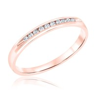 Channel Set Diamond Rose Gold Wedding Band 1/10ctw