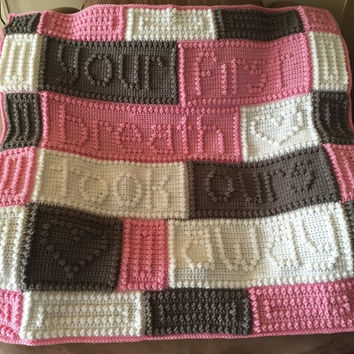 Crochet baby blanket, made to order baby blanket, crochet baby afghan, crochet throw, your first breath took ours away