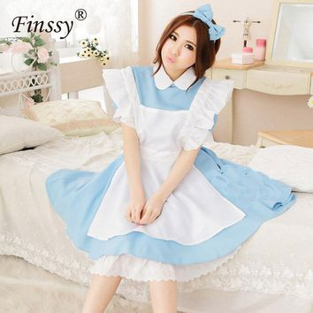 Alice in Wonderland Cosplay Costume for Women Lolita Dress Maid Loaded Water Blue Maid Service COS Anime Costumes for Women