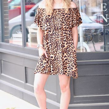 Leopard Off Shoulder Ruffle Sleeve Dress