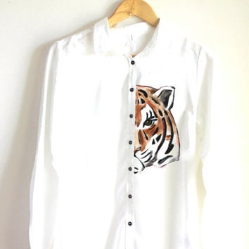 Tiger  handpainted shirt  unique shirt  animal shirt  gift for him tiger lovers