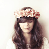 Roxette Big Flower Crown / Haircrown / Headband / Light Brown Floral Headpiece