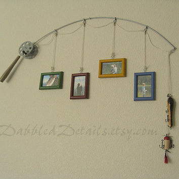 Fishing Pole Picture Frame - Metal Silver - 4 Frames - 2.25 in x 3.5 in Frames