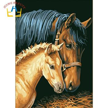 HOME BEAUTY oil painting by numbers diy picture animals drawing coloring on canvas painting by hand wall paint horse J010