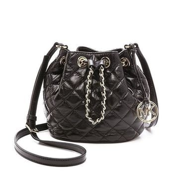 ESBON MICHAEL Michael Kors Women's Frankie Quilted Small Bucket Bag