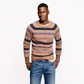 Alpine Fair isle sweater in heather brown - pattern - Men's sweaters - J.Crew