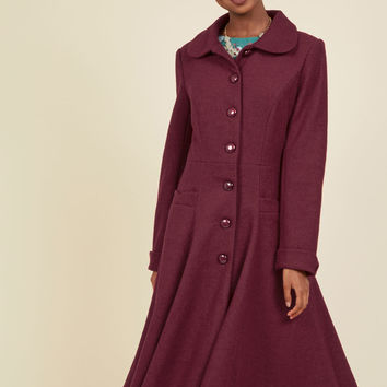 Elegance of the Era Coat in Wine | Mod Retro Vintage Coats | ModCloth.com