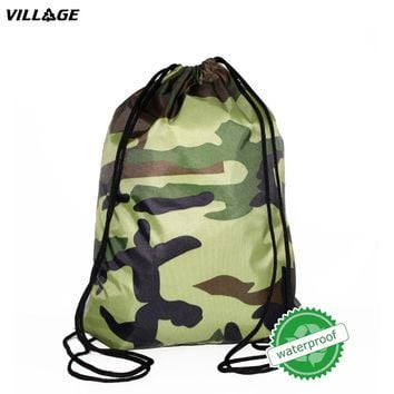 VILLGE SchoolBag Camo Drawstring Backpack For Teenage Men Waterproof Drawstring Bag Packing Cubes Large Capacity Mochila