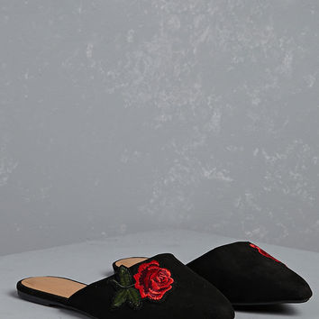 Faux Suede Rose Loafer Mules