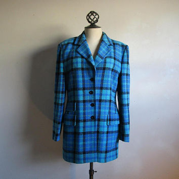 90s Escada Margaretha Ley Jacket  Vintage Wool Blue Black Check 1990s Designer Plaid Blazer 40EU