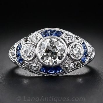 Retro Women's Vintage Style Jewelry 925 Sterling Silver Ring Round Cut Imitation Diamond Blue Sapphire Antique Style Proposal Gi