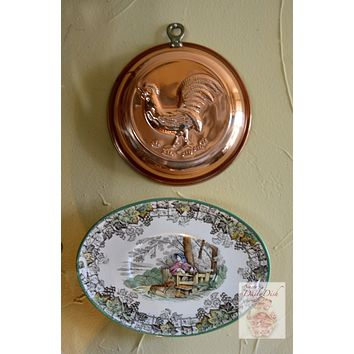 Vintage French Country Copper Rooster Chicken Tart Mold with Brass Riveted Hook