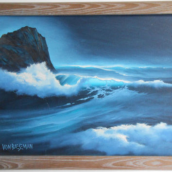 Seascape Oil Painting of Whale's Tail in Moonlight Framed Signed Von Beseman Beach House Decor Wall Hanging