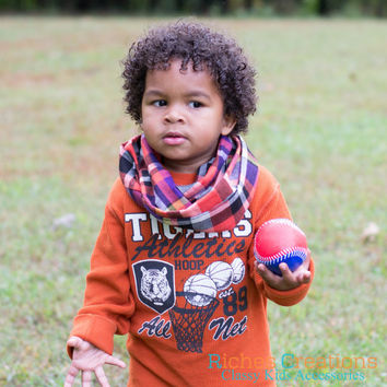 Fall Plaid Infinity Scarf - Infant and Toddler Cozy Weather Scarf.