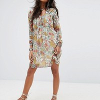 Boohoo Floral Tie Front Smock Dress at asos.com