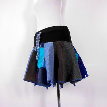 Patchwork skirt, Upcycled Clothing, Hippie Skirt, Hoop Skirt, Boho Chic, Hippie Clothes, Bohemian Clothing, Short Jean Skirt, Dance Skirt