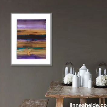 Large Watercolor Painting - original abstract fine art - abstract expressionism - ombre colorblock - colorful - brown purple turquoise