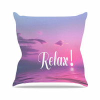 "Alison Coxon ""Relax"" Pink Typography Throw Pillow"