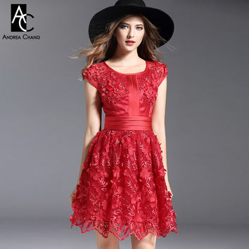 runway designer womens dress cocktail party event dress flower applique embroidery beading red pink black white ball gown dress