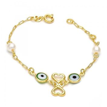 Gold Layered 03.02.0040.06 Fancy Bracelet, Heart and Greek Eye Design, with Multicolor Opal, Polished Finish, Gold Tone