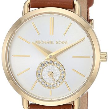 Michael Kors Watches Womens Gold-Tone and Luggage Leather Portia Watch