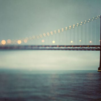 San Francisco Art, Bay Bridge, California, Dreamy Travel Photography, Water, Teal, Blue Green, Night, Lights - The Crossing