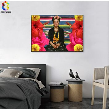 Frida Kahlo Self Portrait Canvas Art Print Painting Poster Wall Picture for Living Room Decoration Home Decor