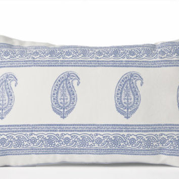 Decorative Throw Pillow -White Cotton Blue Paisley Pillow Case -Asian Decor -12x20 -Present -Wedding Anniversary -Engagement -Housewarming