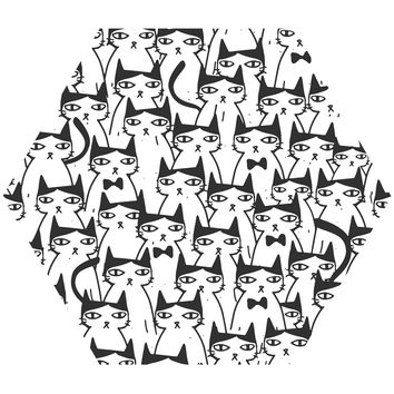 Cats Cats Cats Hex Wall Decal