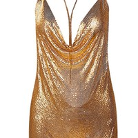Chain Gang Gold Metal Chainmail Plunge V Neck Backless Halter Mini Dress