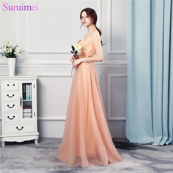 Wedding Party Girl Bridesmaid Dresses Beaded Long Floor Length Soft Tulle Peach Orange Sweetheart Vestidos De Brides Maid Dress
