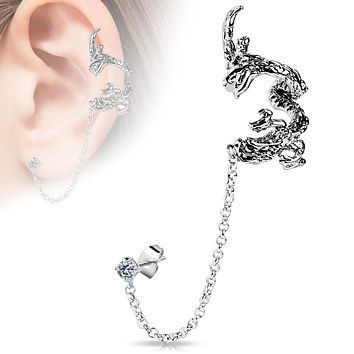 Flying Dragon Design WildKlass Ear Cuff with Chain Linked Clear CZ set Stud Ear WildKlass Rings (Sold by Piece)