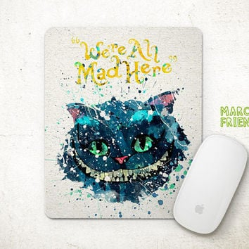 Alice in Wonderland Mouse Pad, Cheshire Cat Watercolor Art, Mousepad, Home Decor, Gifts Idea, Art Print, Desk Decor, Disney Accessories
