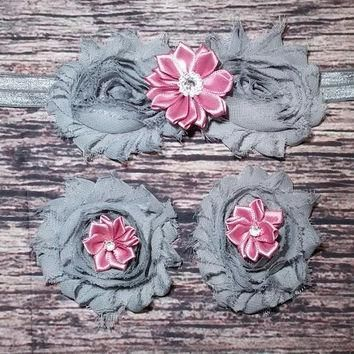 Gray Shabby and Mauve Satin Rhinestone Flowers Baby Headband and Barefoot Sandal Set!