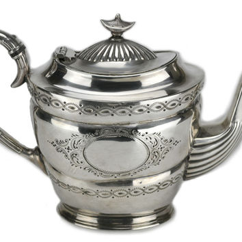 Silver Plated Teapot by Thomas Otley & Sons, Antique English 19th century