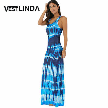 VESTLINDA Casual Boho Long Summer Dress Women Party Tank Dresses Female Tie-Dye Illusion Print Bohemian Beach Maxi Dress Vestido