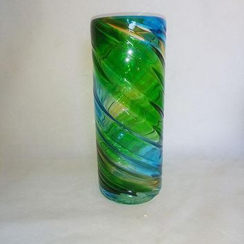 Blue Green Clear Vase