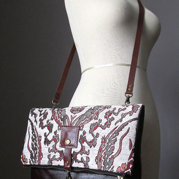 Tapestry leather bag, Large Leather foldover clutch, leather bag, tapestry bag, crossbody bag, brown leather clutch